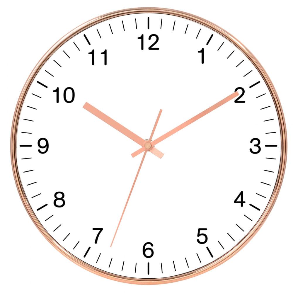 fcb6570fe7acc Relógio de Parede - Rose Gold e Branco 35cm - CasaCenter