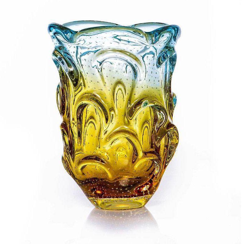 Vaso de Murano Com Aspente São Marcos - Cristal Azul e Âmbar 26cm
