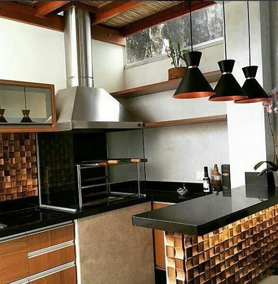 Pendente Alumínio Preto/Cobre - Bambola 23cm Cozinha/Bancada