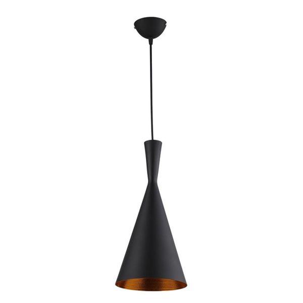 Pendente De Alumínio Design Tom Dixon - Beat Tall Preto e Dourado 40cm