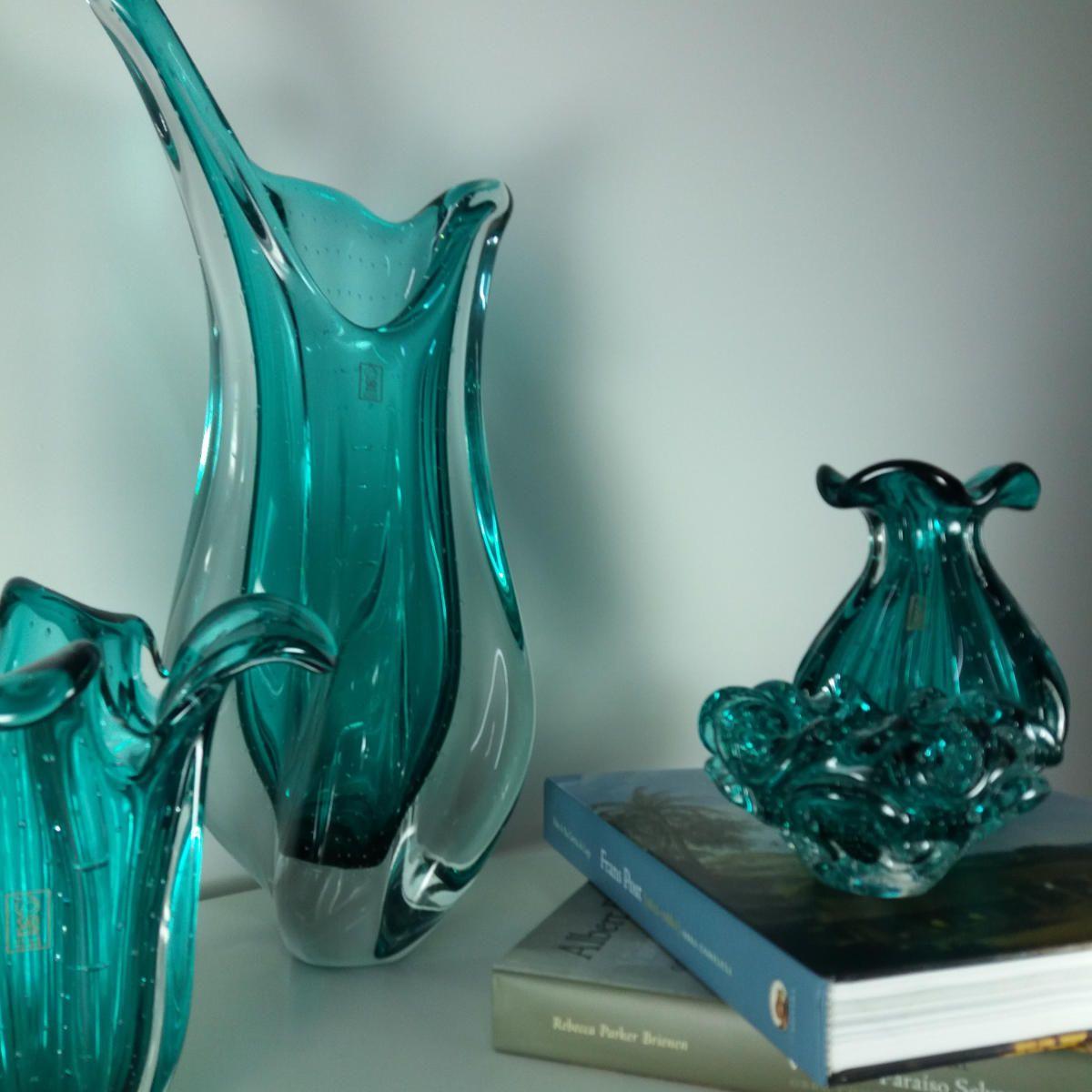 Vaso De Murano São Marcos - Cristal Verde Esmeralda/Transparente 54cm