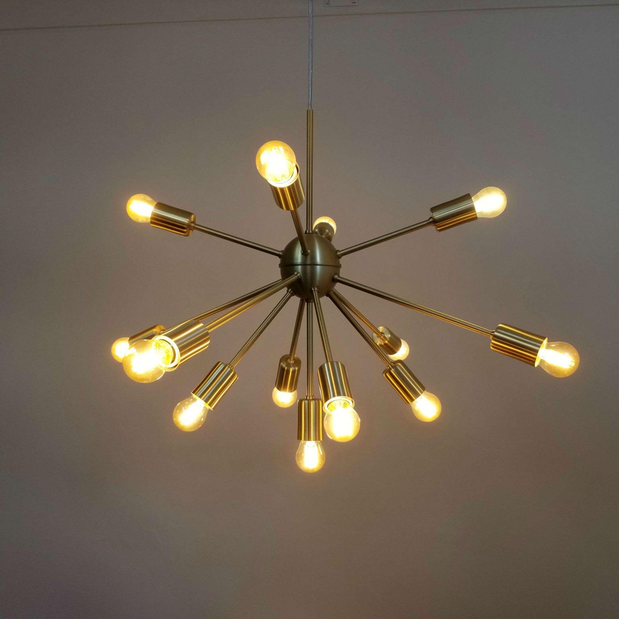 Lustre Pendente Moderno Sputnik Dourado 13 L Mpadas N O Inclusas