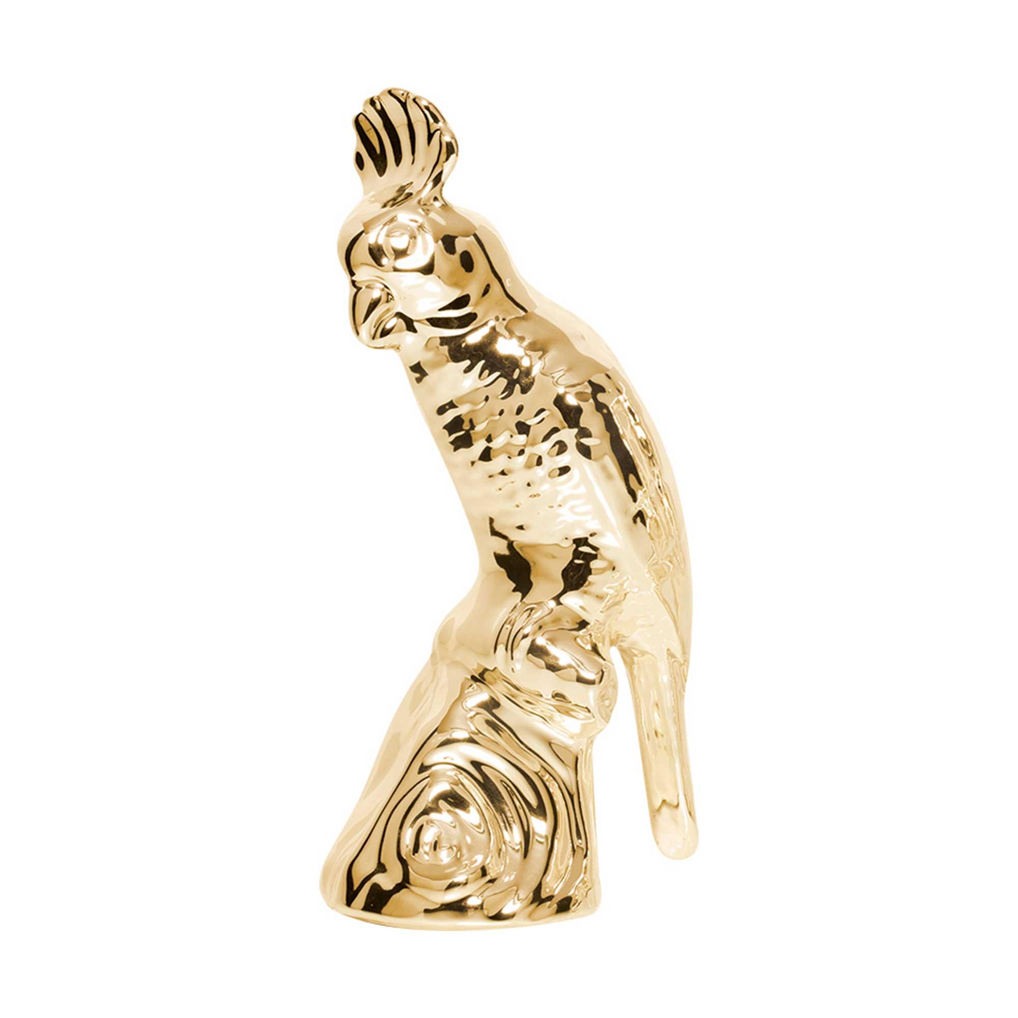Passarinho Cacatua Pequena Cerâmica Decorativa - Dourado Ouro