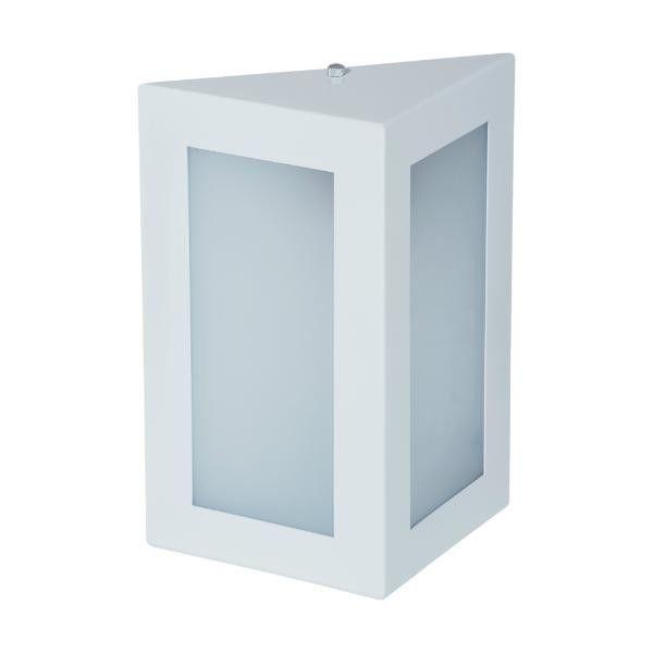 Arandela em Alumínio e Vidro Grande - Triangular 23cm - Branco
