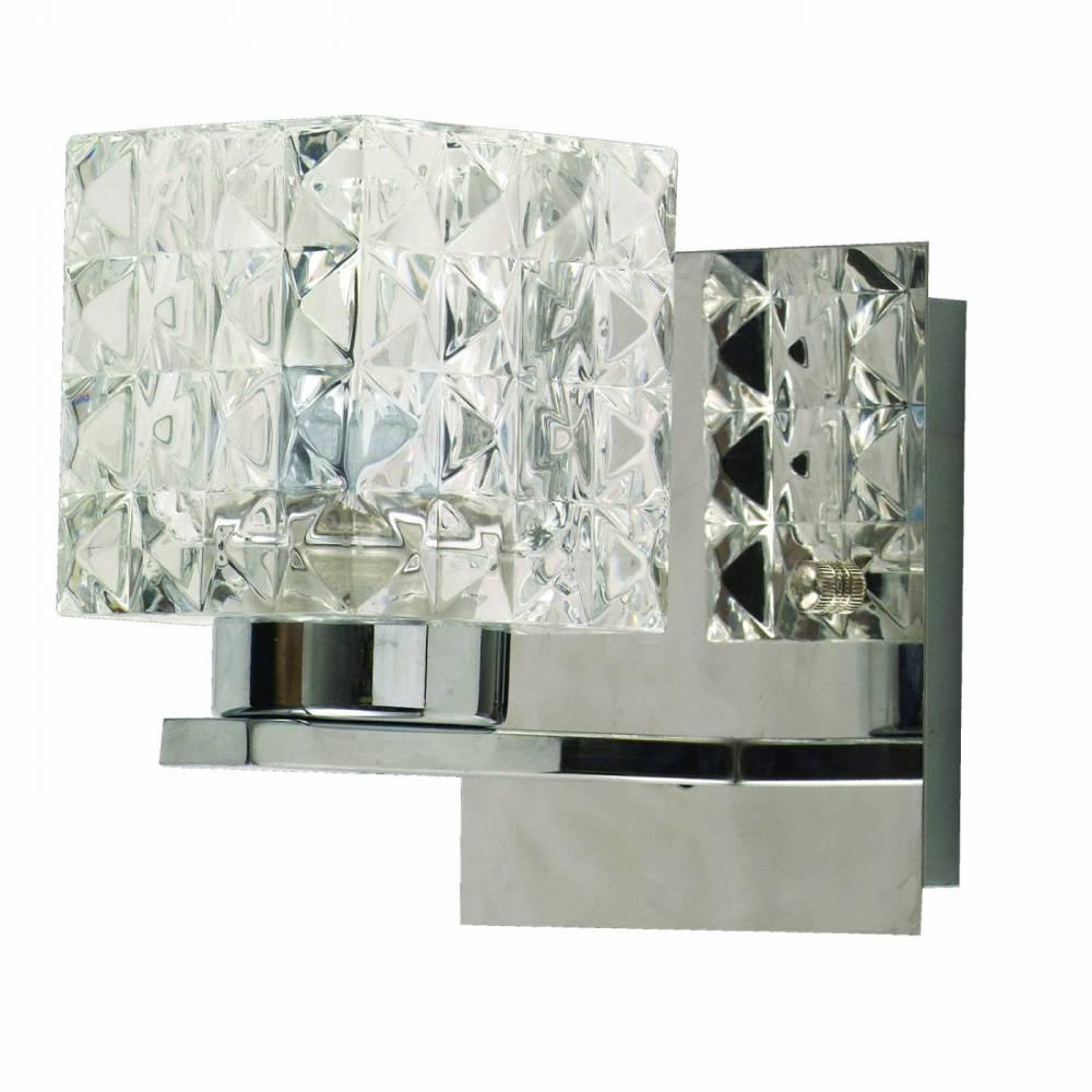 Arandela Quadrada Vidro e Metal Cromado - Bella Prism