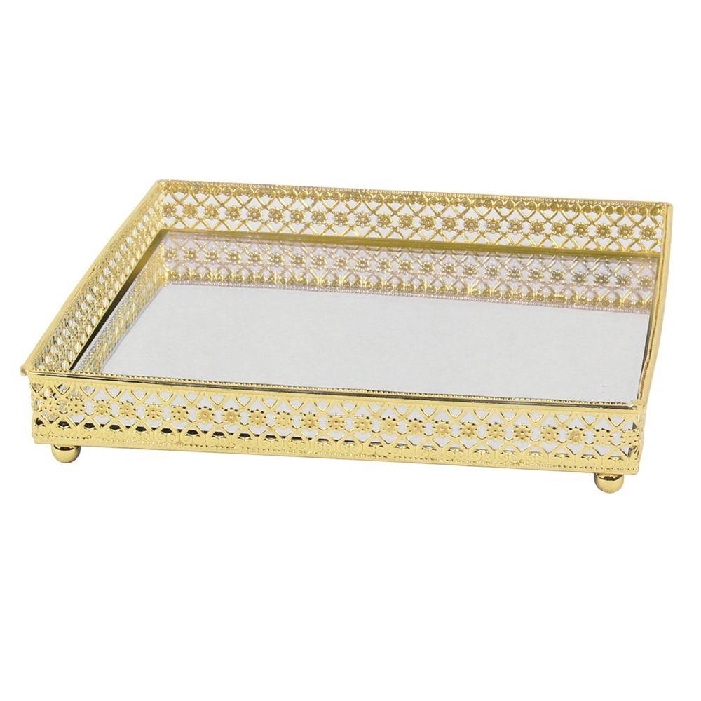 Bandeja Decorativa Quadrada De Ferro Espelhado Dourado
