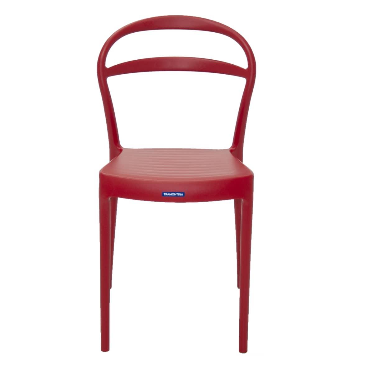 Cadeira Moderna Sem Braços com Encosto Vazado - Tramontina Sissi - Vermelho