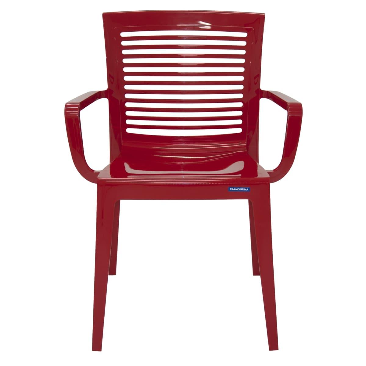 Cadeira Moderna Com Braços e Encosto Vazado - Tramontina Victória - Vermelho