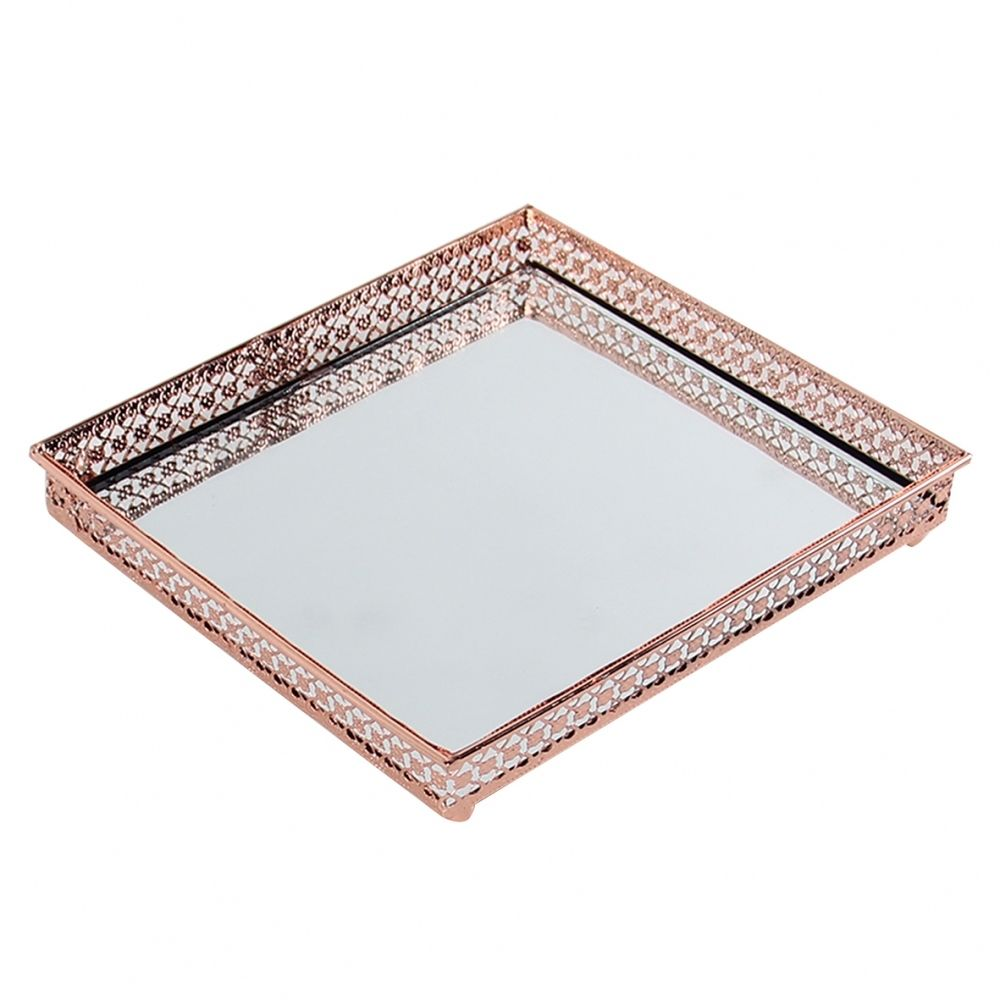 Bandeja Decorativa Espelhada - Quadrada 16cm Cobre