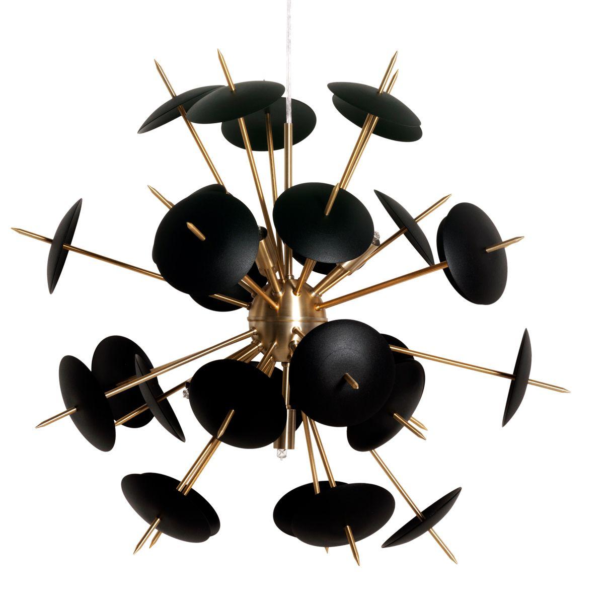 Lustre Pendente Sputnik Atom Orbit - Dourado e preto