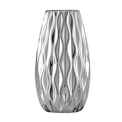Vaso de Cerâmica - Prata Ondulado 11cm