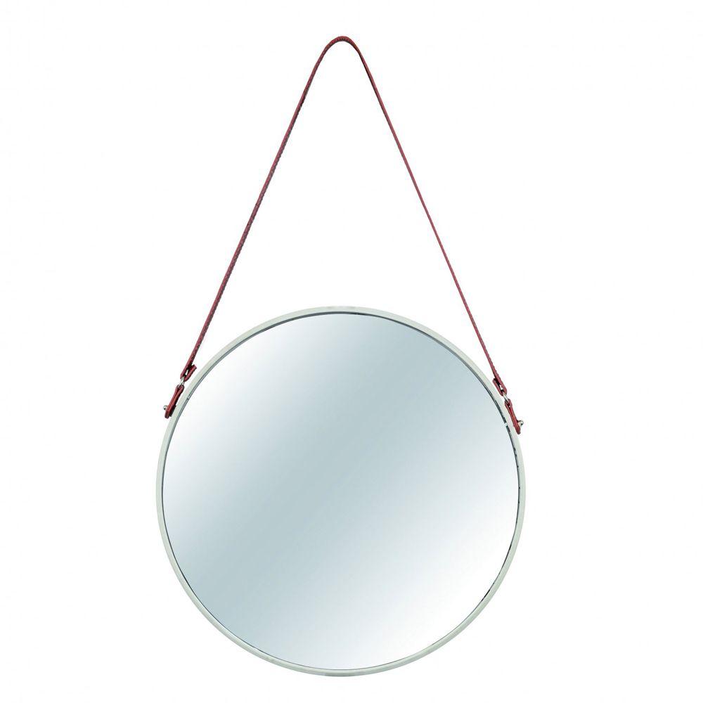Espelho Redondo Decorativo de Metal - Off-White 45,5cm