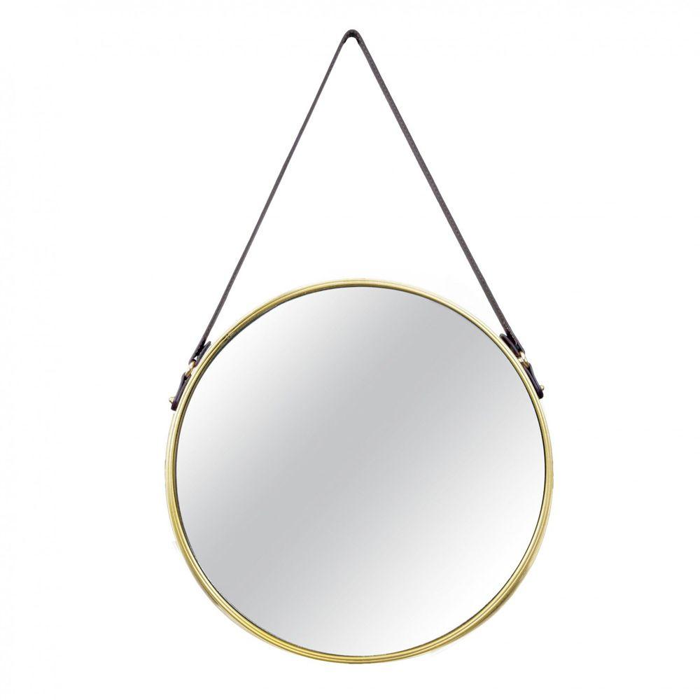 Espelho Redondo Decorativo de Metal - Dourado 45,5cm