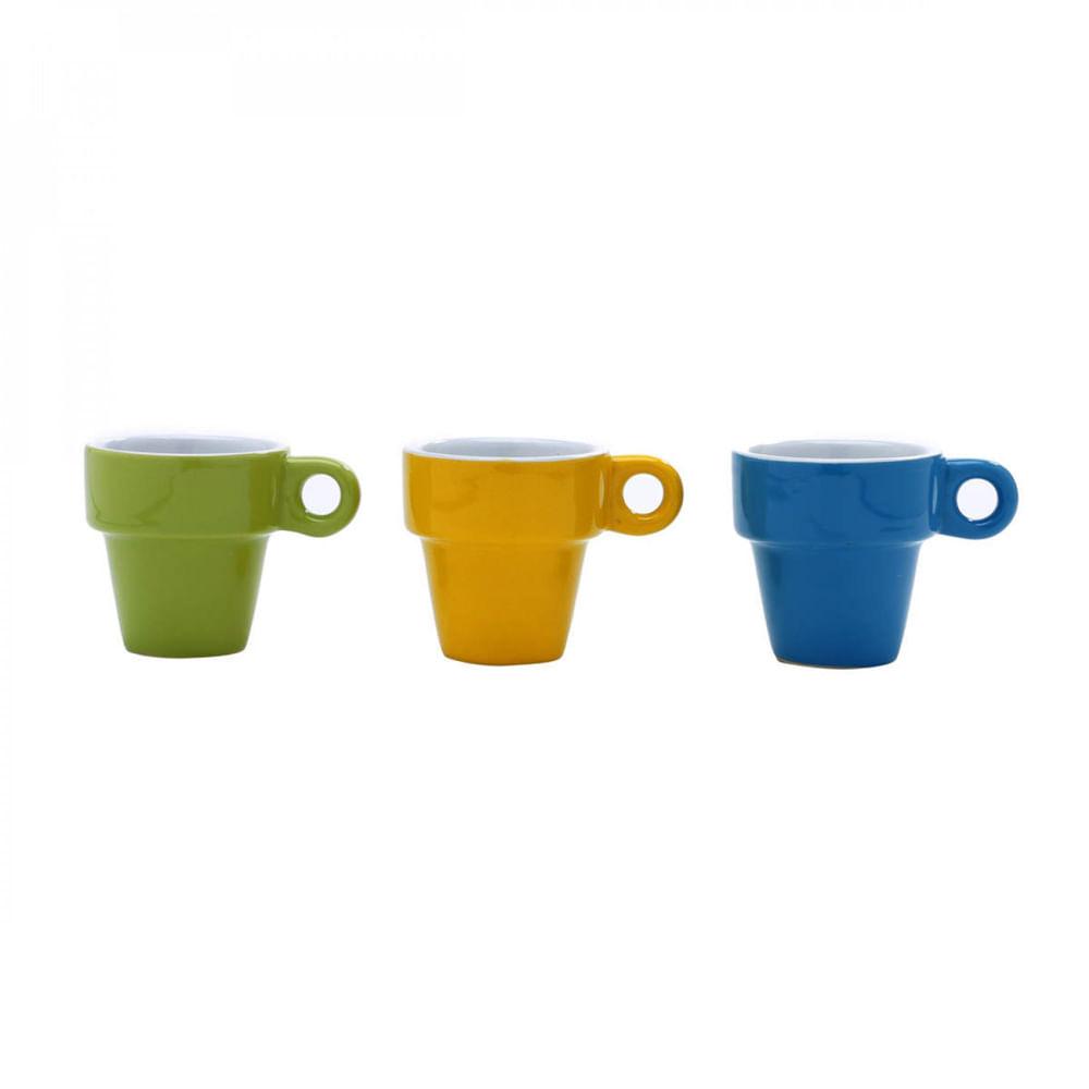 Jogo de Xícaras de Café de Porcelana - Bon Gourmet 60ml (6 peças)