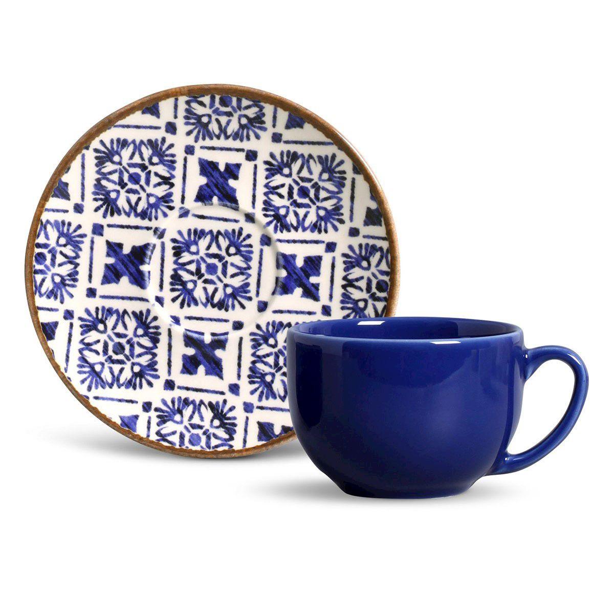 Jogo de Xícaras de Chá Porto Brasil - Asteca (6 Peças)
