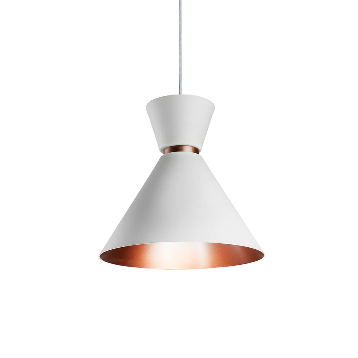 Pendente Alumínio Branco/Cobre - Bambola 23cm Cozinha/Bancada
