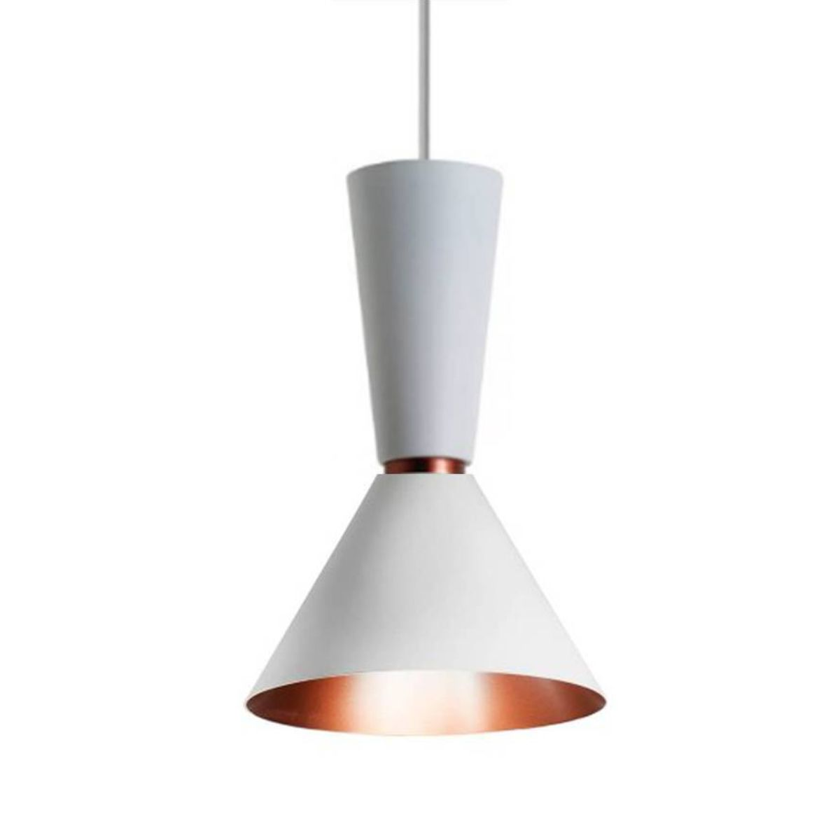 Pendente Alumínio Branco/Cobre - Bambola 30cm Cozinha/Bancada