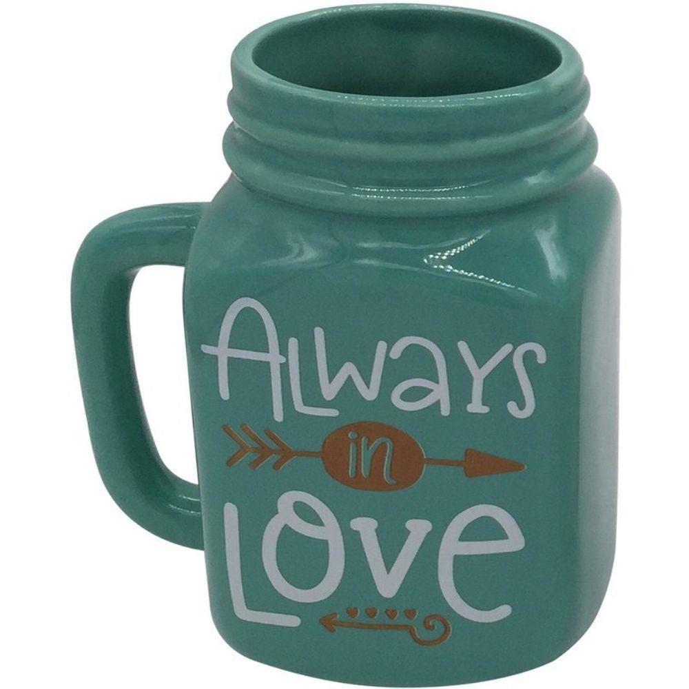 Pote Decorativo de Cerâmica Verde - Always Love