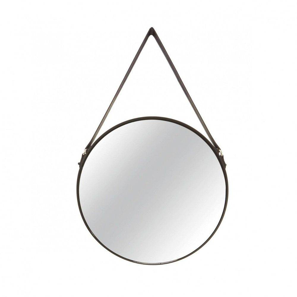 Espelho Redondo Decorativo de Metal - Preto 45,5cm