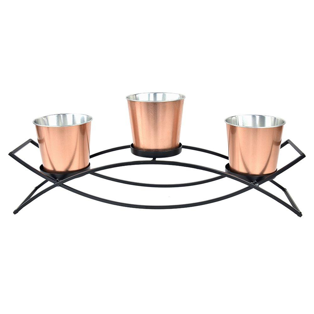 Conjunto de 3 Cachepots em Metal Cobre Com Suporte Preto (4 Pçs)