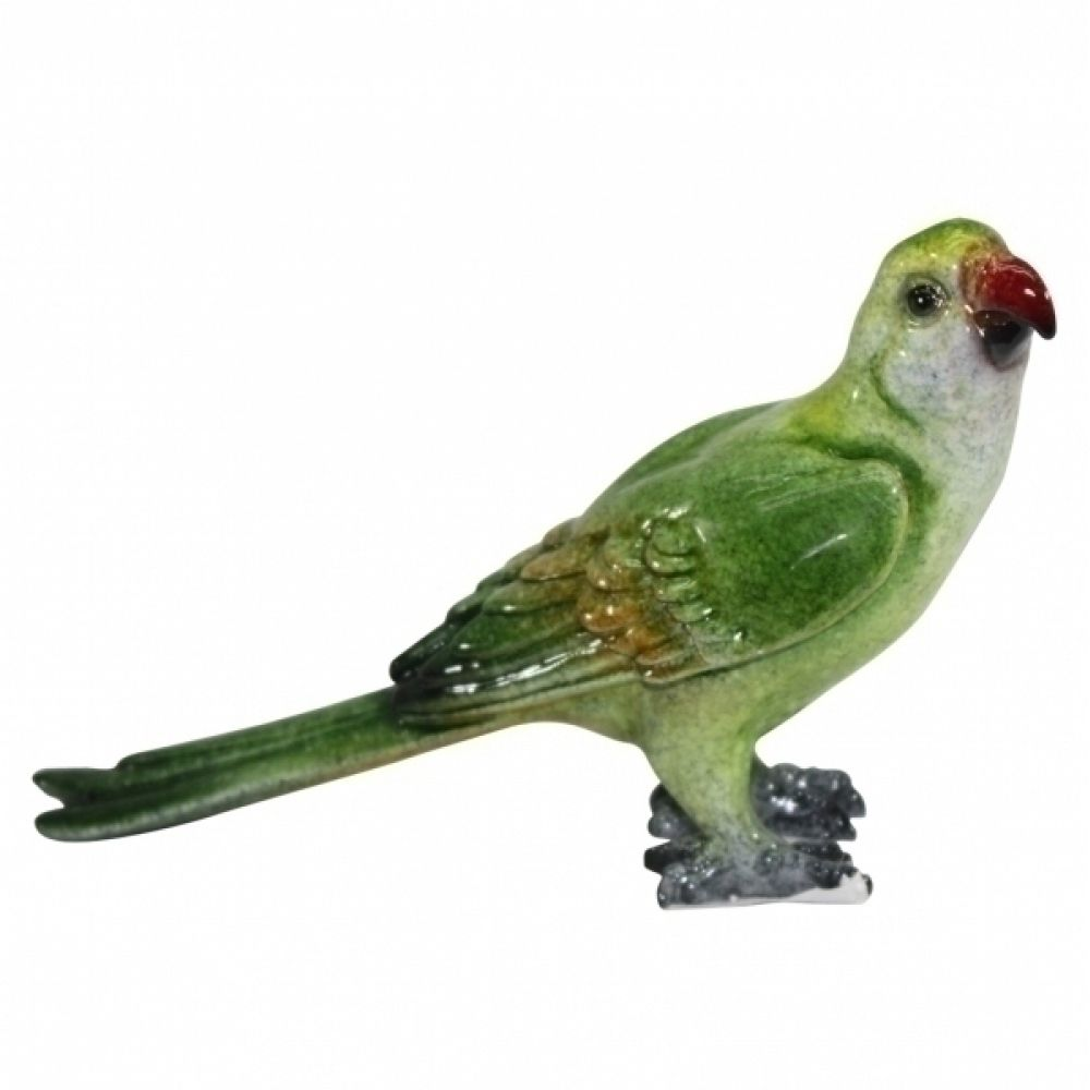 Periquito Verde Decorativo de Resina