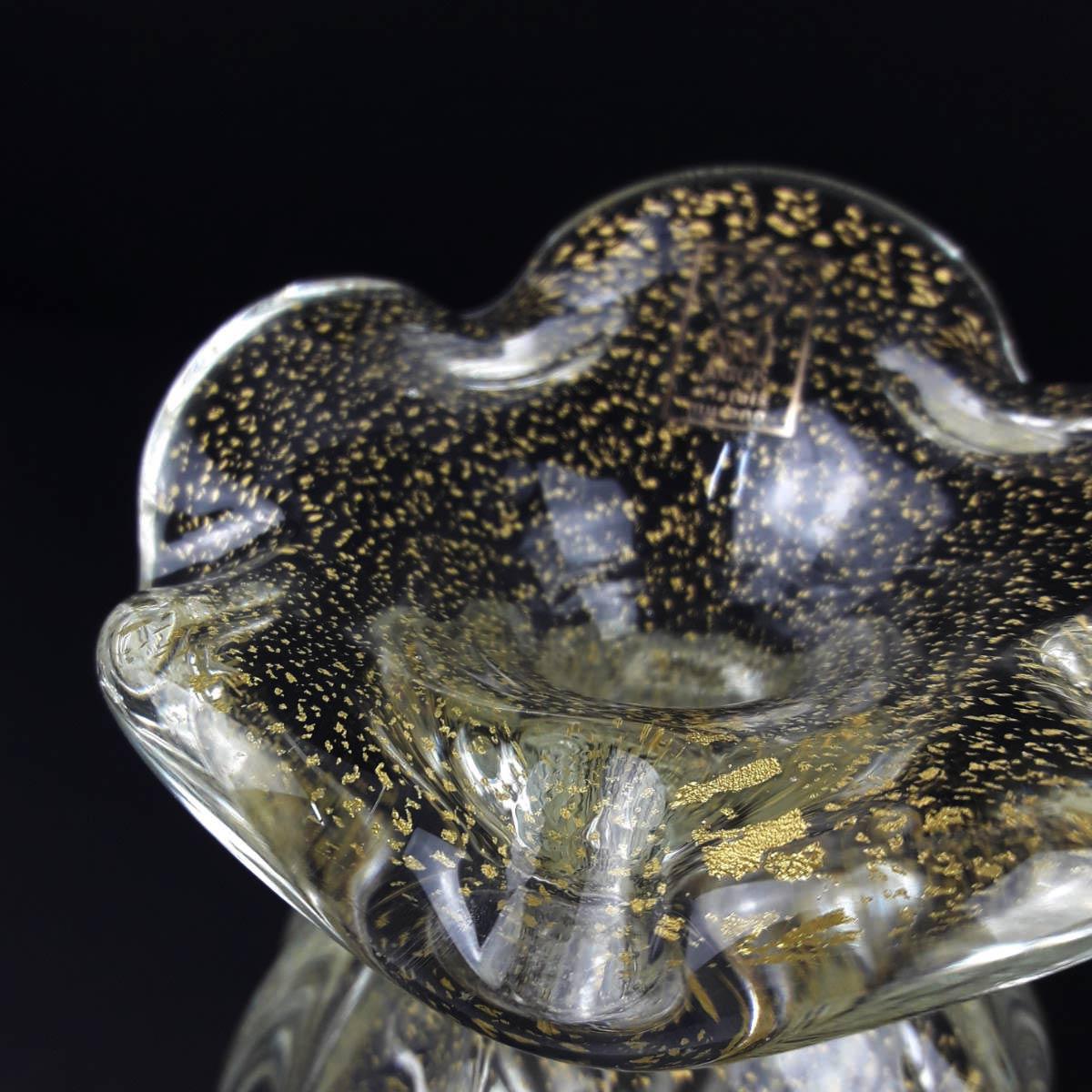 Vaso de Murano com Ouro São Marcos - Cristal Transparente 18cm