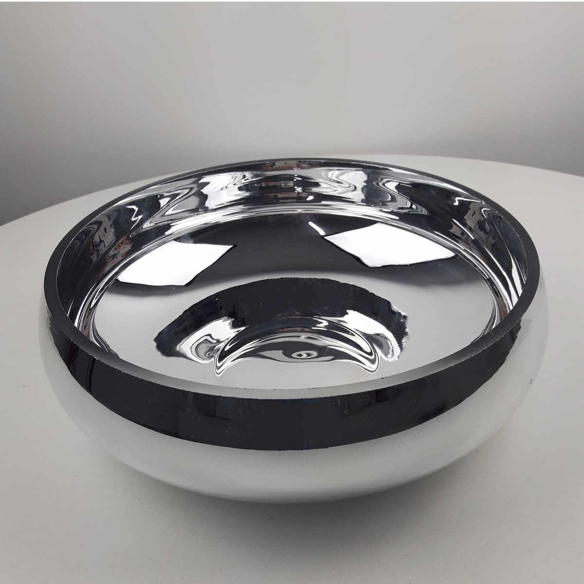 Tigela Ikebana De Vidro Espelhado Prata 26 5cm Casacenter