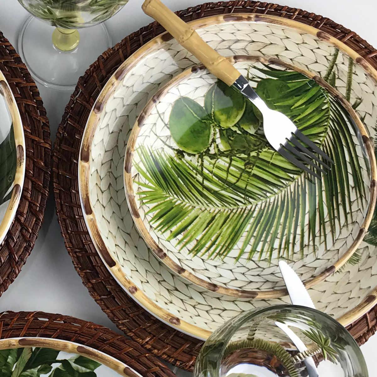 Prato Raso Estampa de Coqueiros e Bambu - Trancoso (6 pçs)