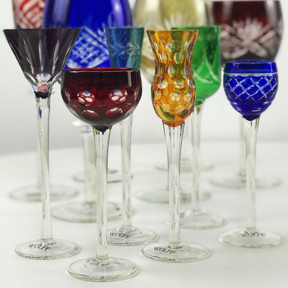 Jogo Taças de Cristal para Licor - Coloridas Wolff 150ml (6 Peças)