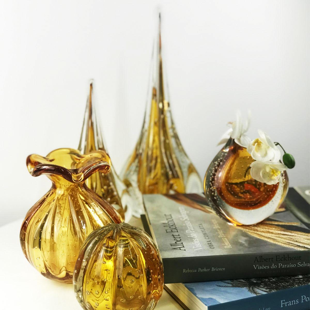 Mini Cachepot De Murano São Marcos - Cristal Âmbar 14cm