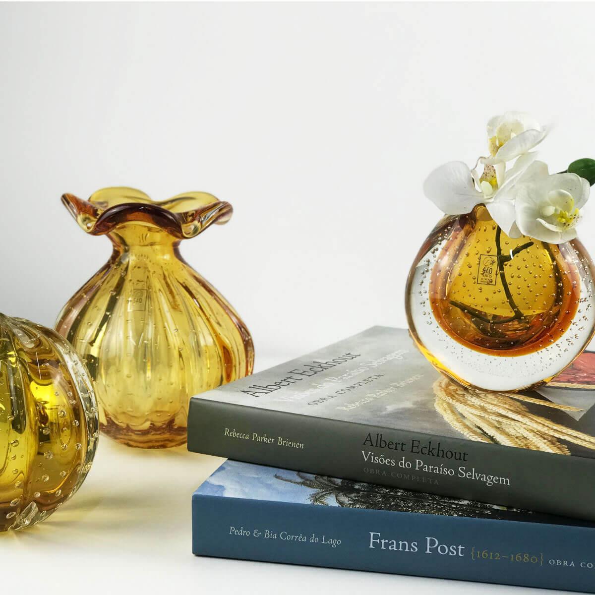 Vaso de Murano Trouxinha São Marcos - Cristal Âmbar 18cm