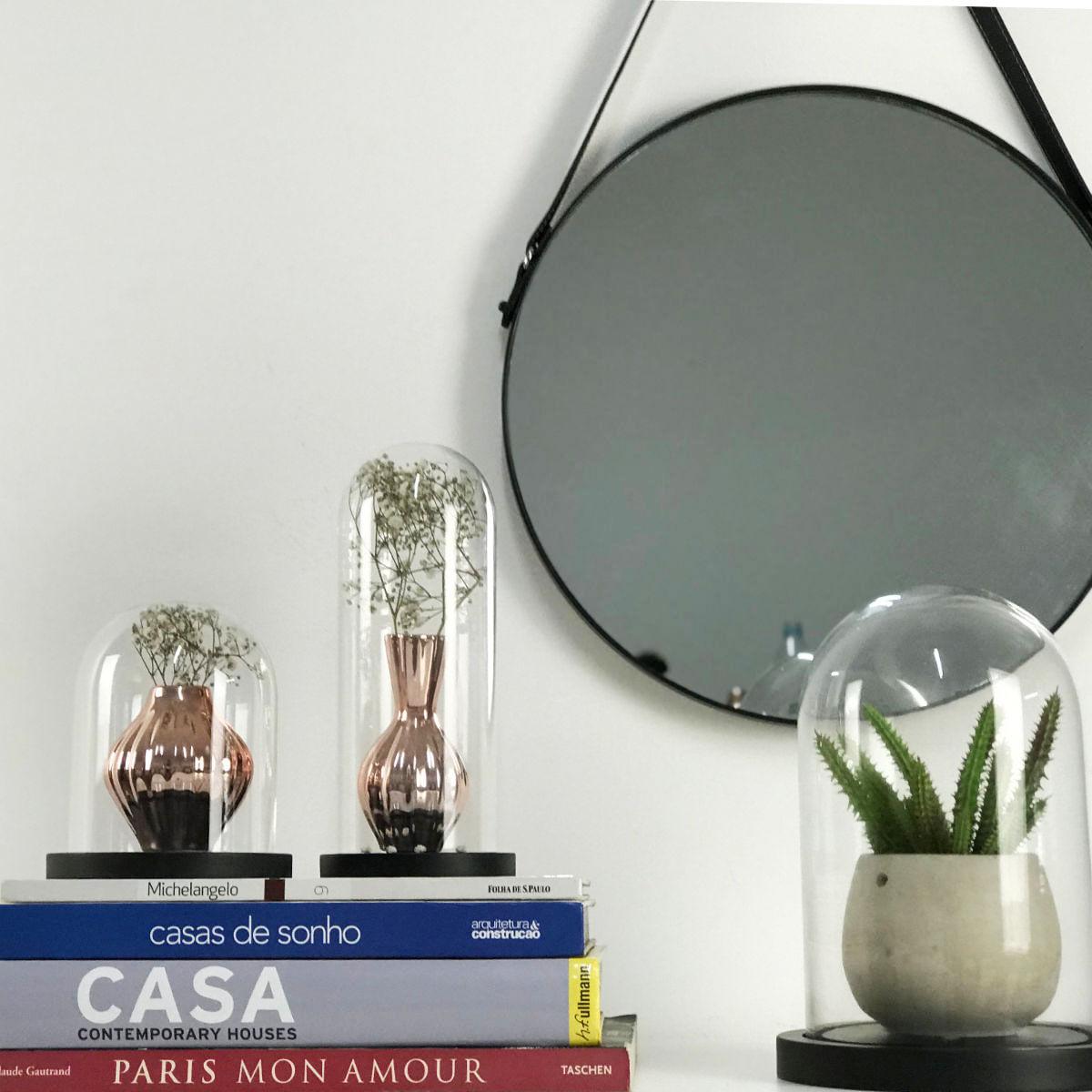Espelho Redondo Decorativo de Metal - Preto 40,5cm