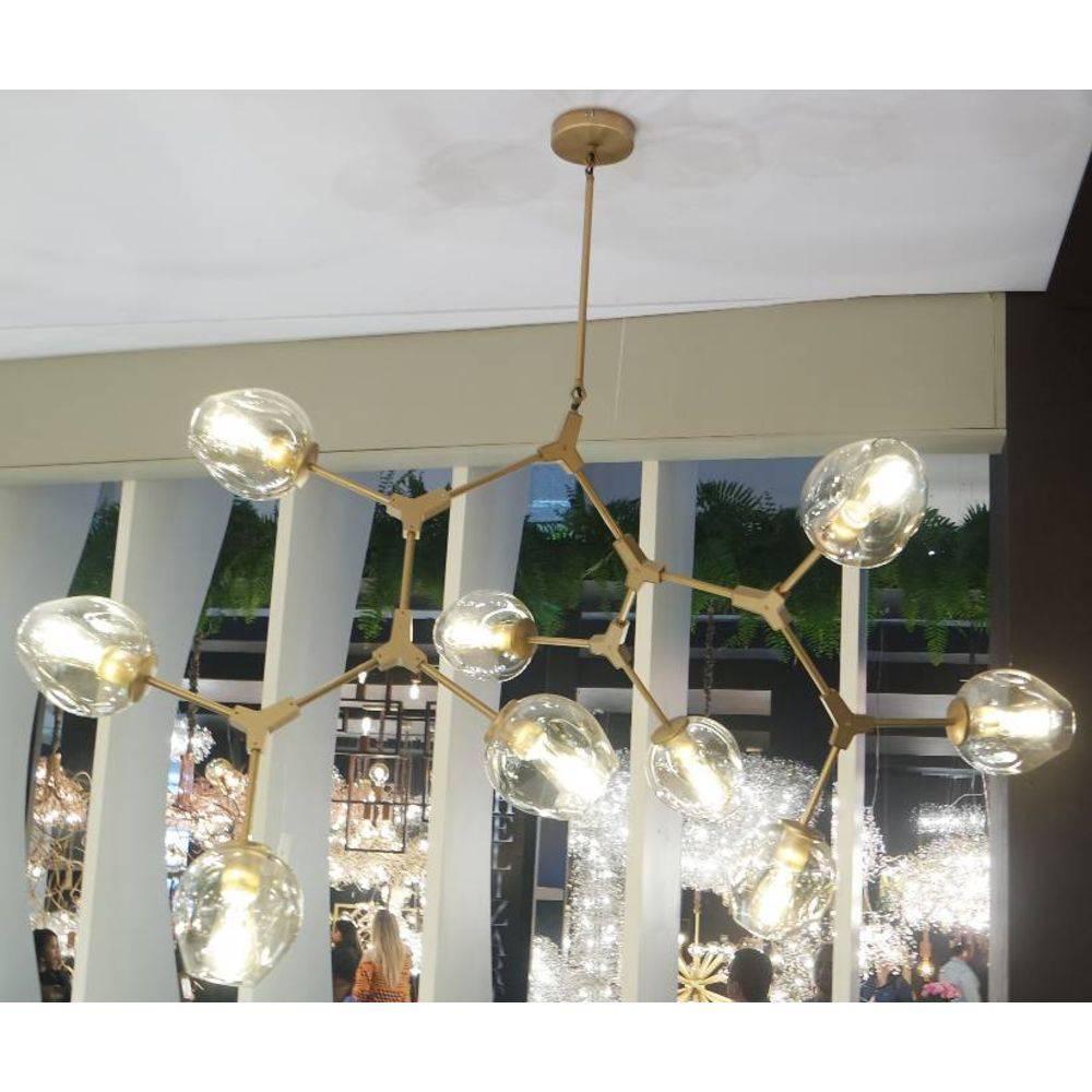 Pendente Moderno de Vidro e Metal - Bella Orbe Dourado 9 Lâmpadas