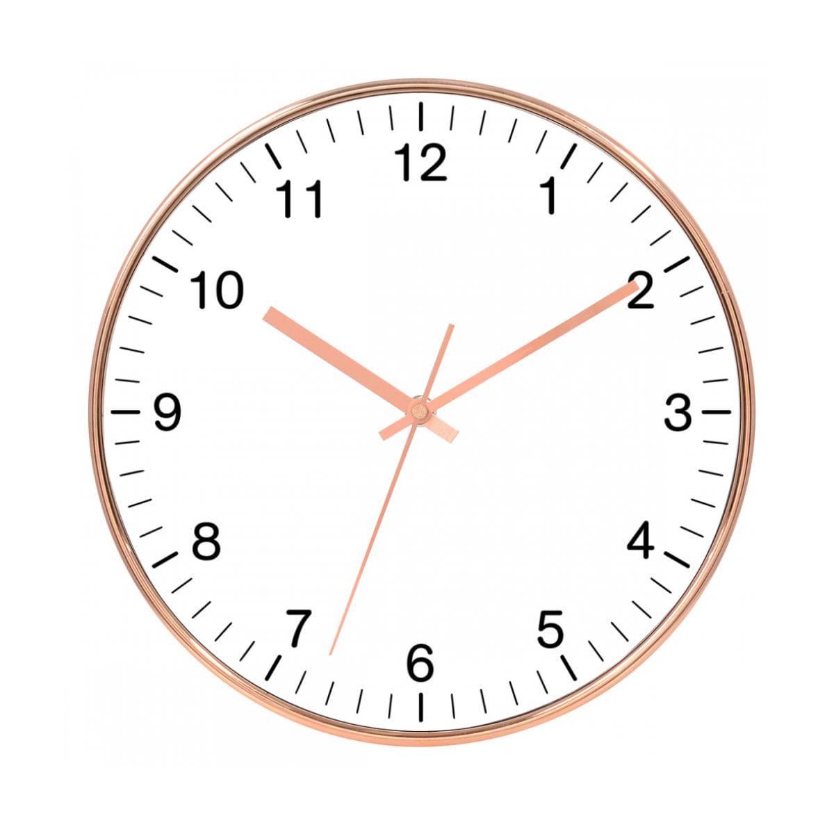Relógio de Parede - Rose Gold e Branco 25cm