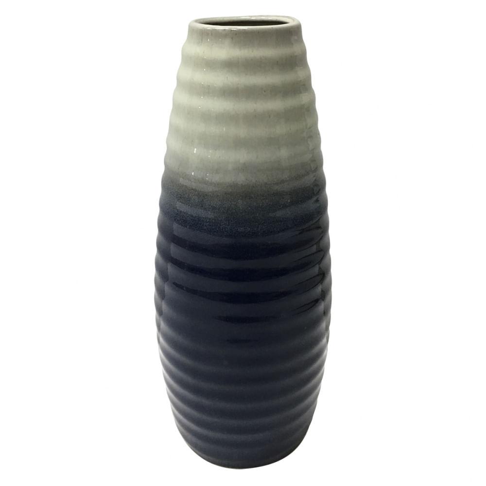 Vaso Decorativo de Cerâmica Ondulado Duo Color Pequeno - Azul e Cinza