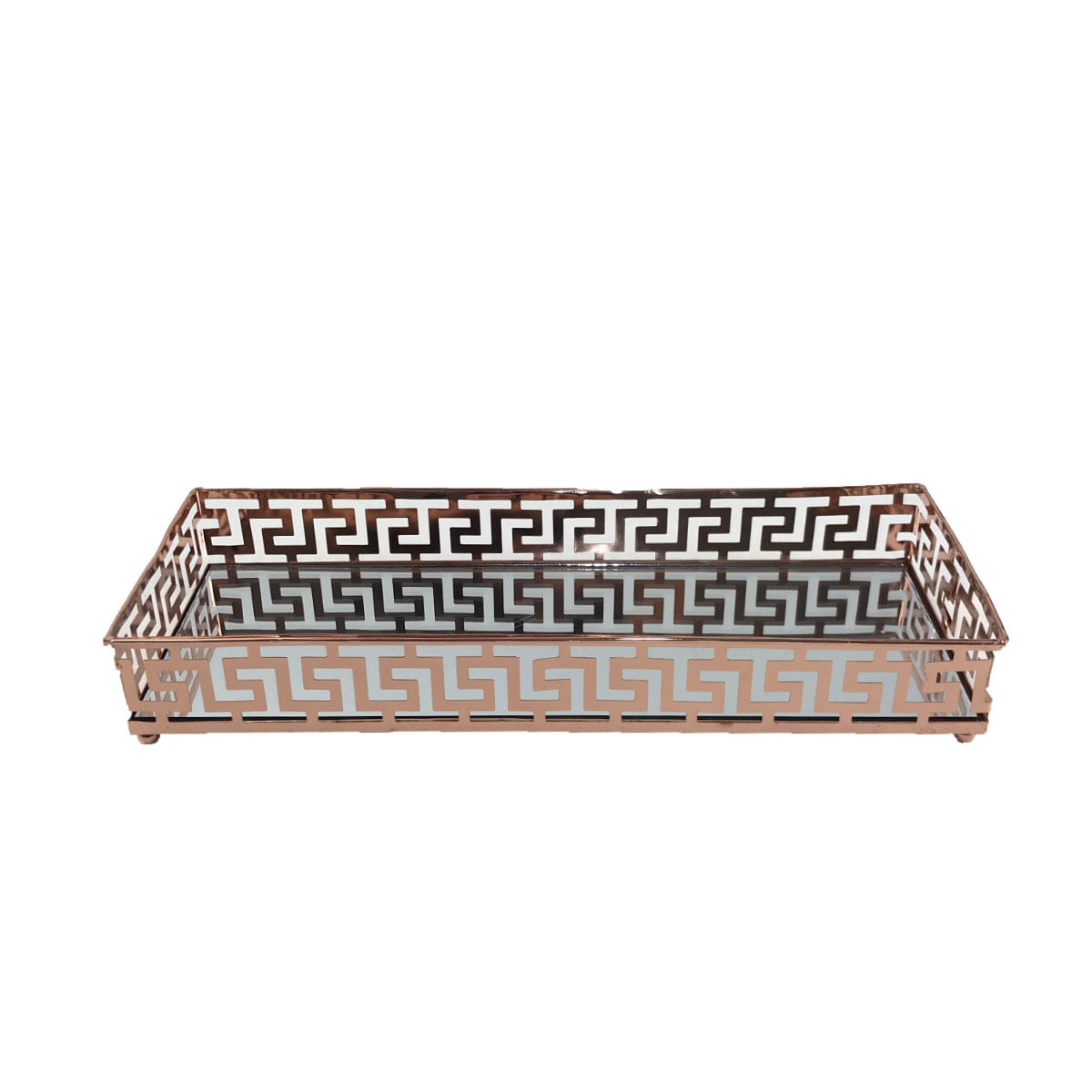 Bandeja Decorativa de Metal Espelhada - Cobre 30cm