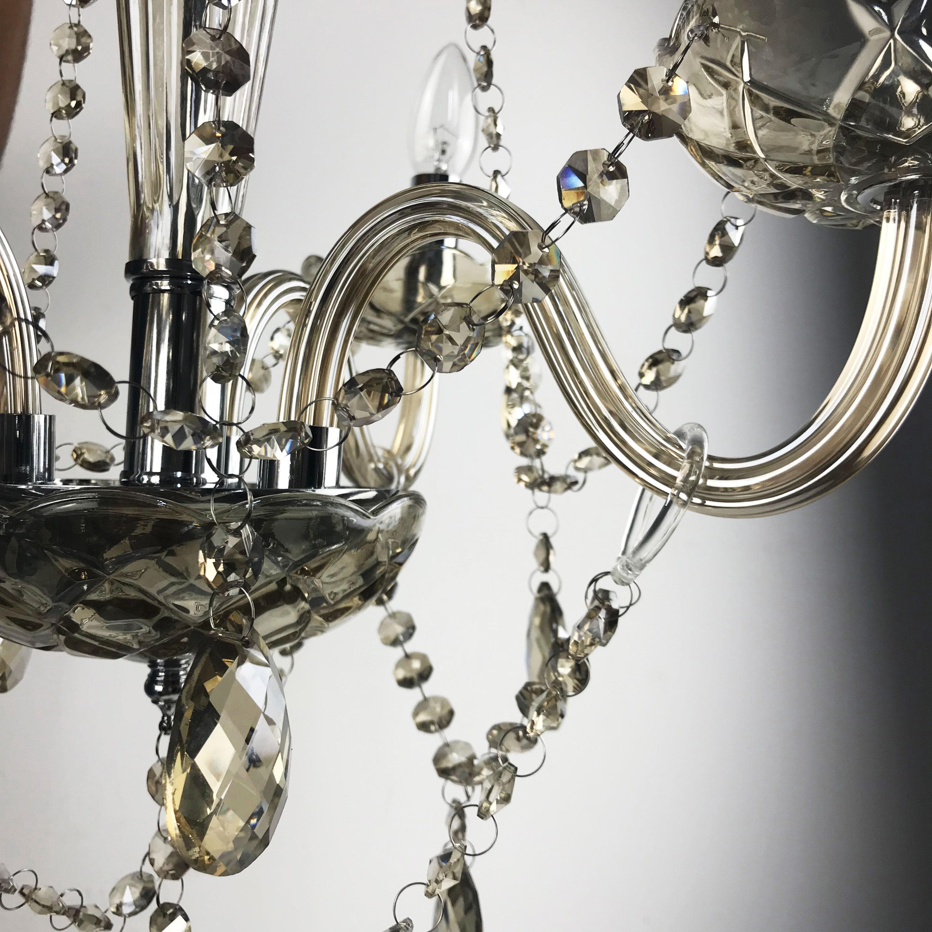 Lustre Candelabro de Cristal Maria Teresa - 6 Braços Champanhe