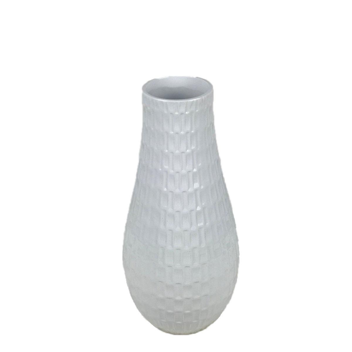Vaso Decorativo de Cerâmica Brilhante - Branco