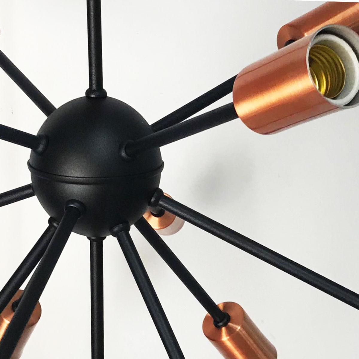 Lustre Pendente Moderno Sputnik Preto com Cobre -13 Lâmpadas (Não Inclusas)