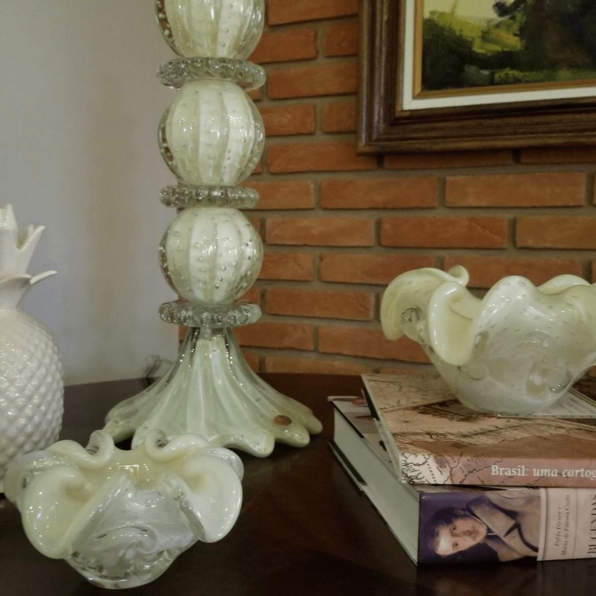 Centro de Mesa de Murano São Marcos - Cristal Pérola 22cm