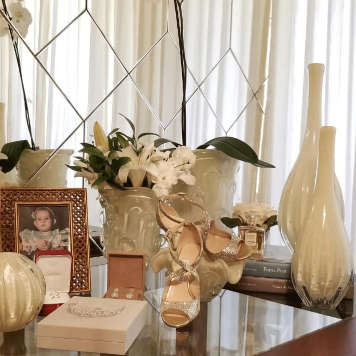 Centro de Mesa de Murano com Aspente São Marcos - Cristal Pérola 13cm