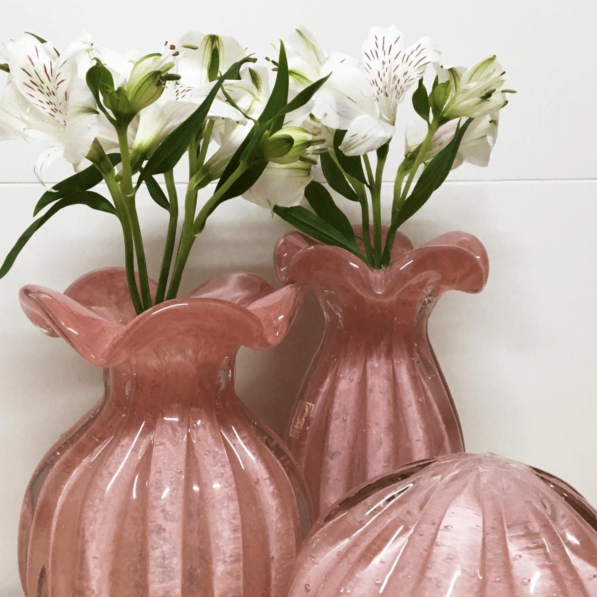 Vaso de Murano Trouxinha São Marcos - Cristal Rosa 20cm