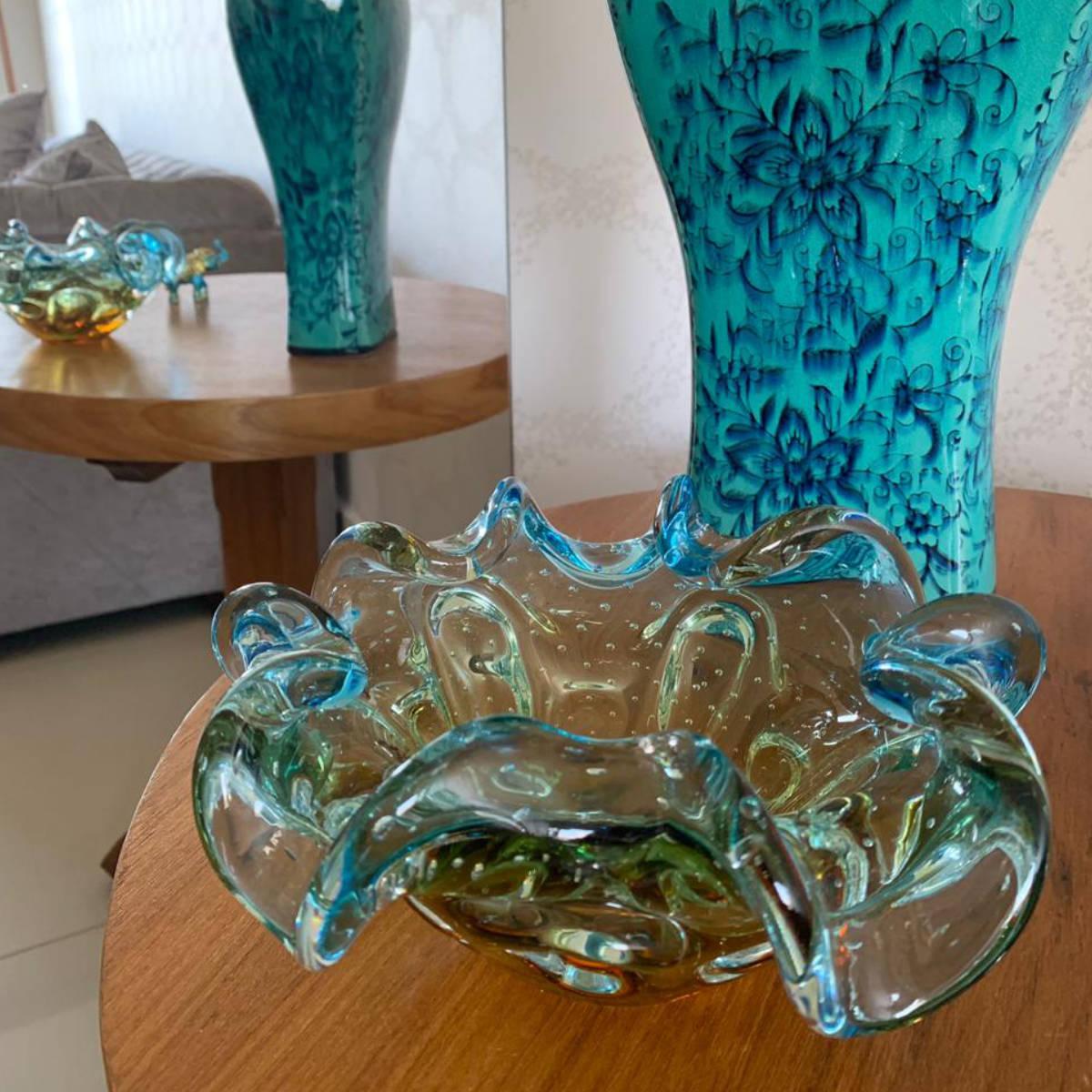 Centro de Mesa de Murano São Marcos - Cristal Azul com Âmbar 22cm