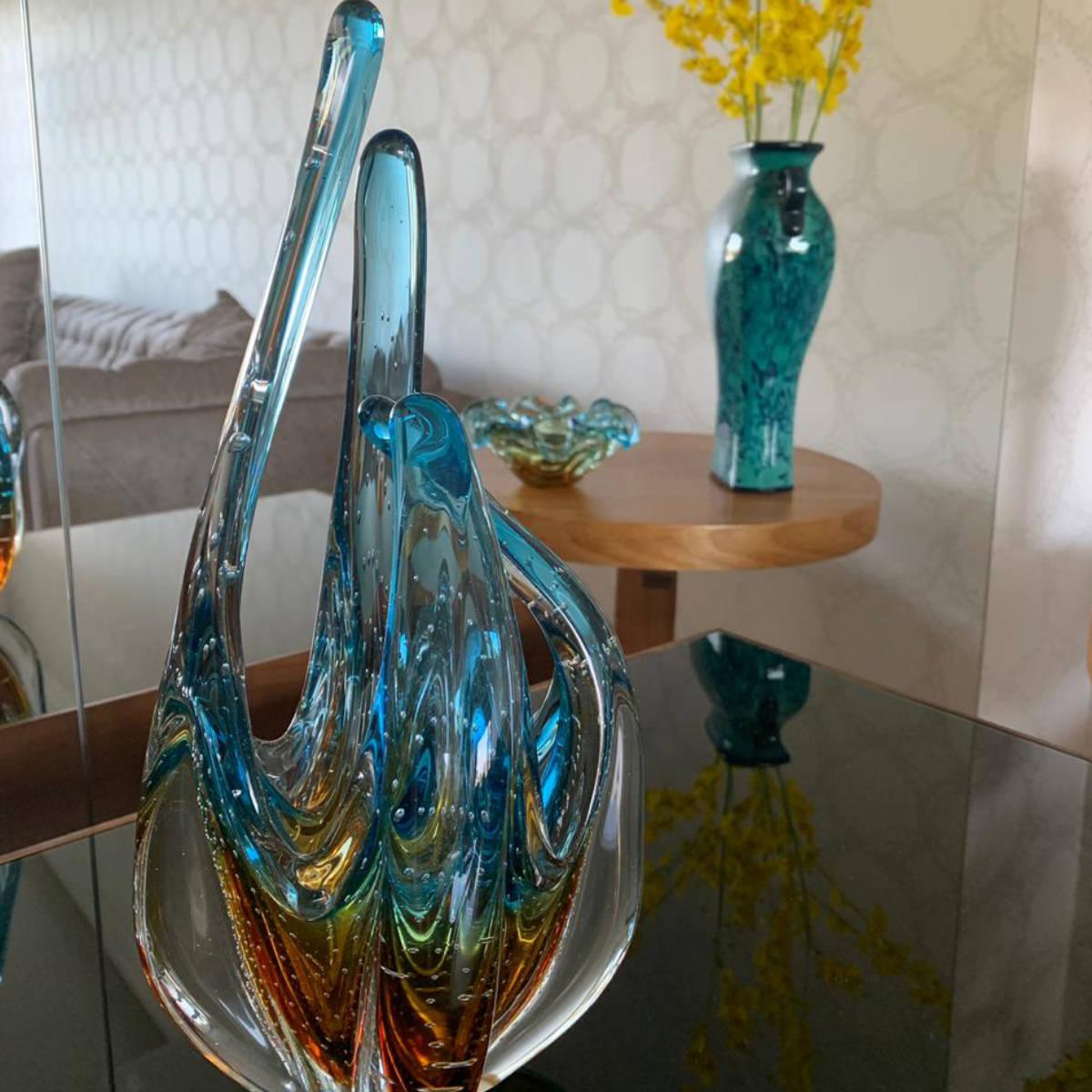 Escultura De Murano São Marcos - Cristal Azul com Âmbar 33cm