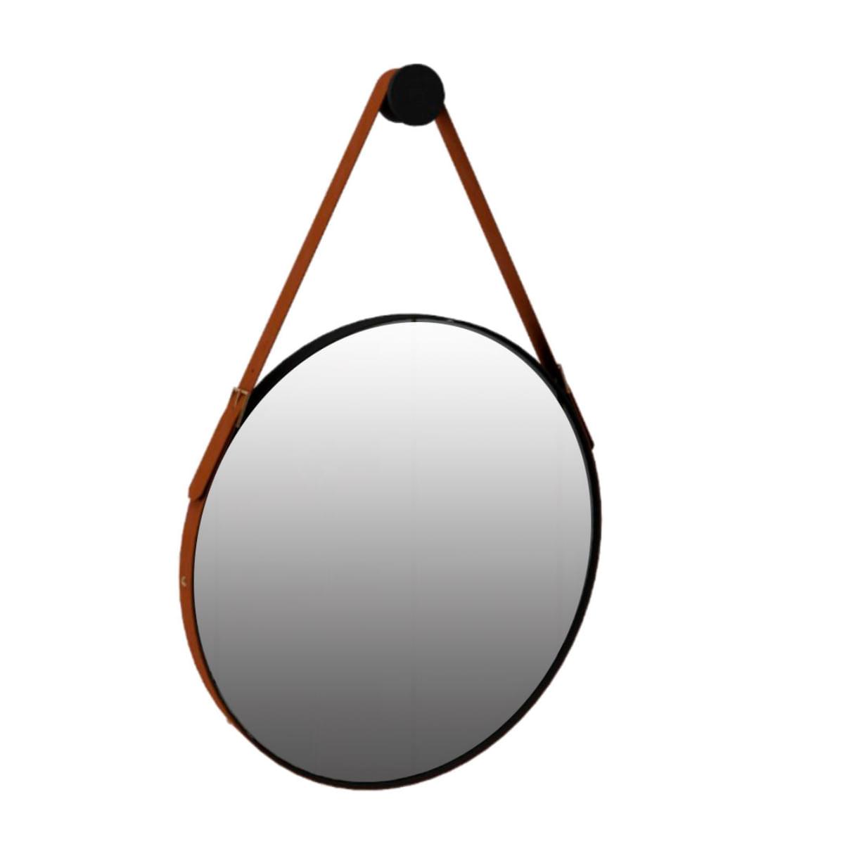 Espelho Redondo Decorativo Onix - Preto Fosco 60cm