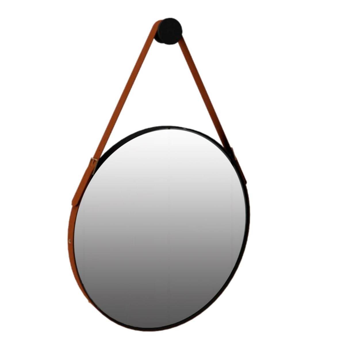 Espelho Redondo Decorativo Onix - Preto Fosco 70cm