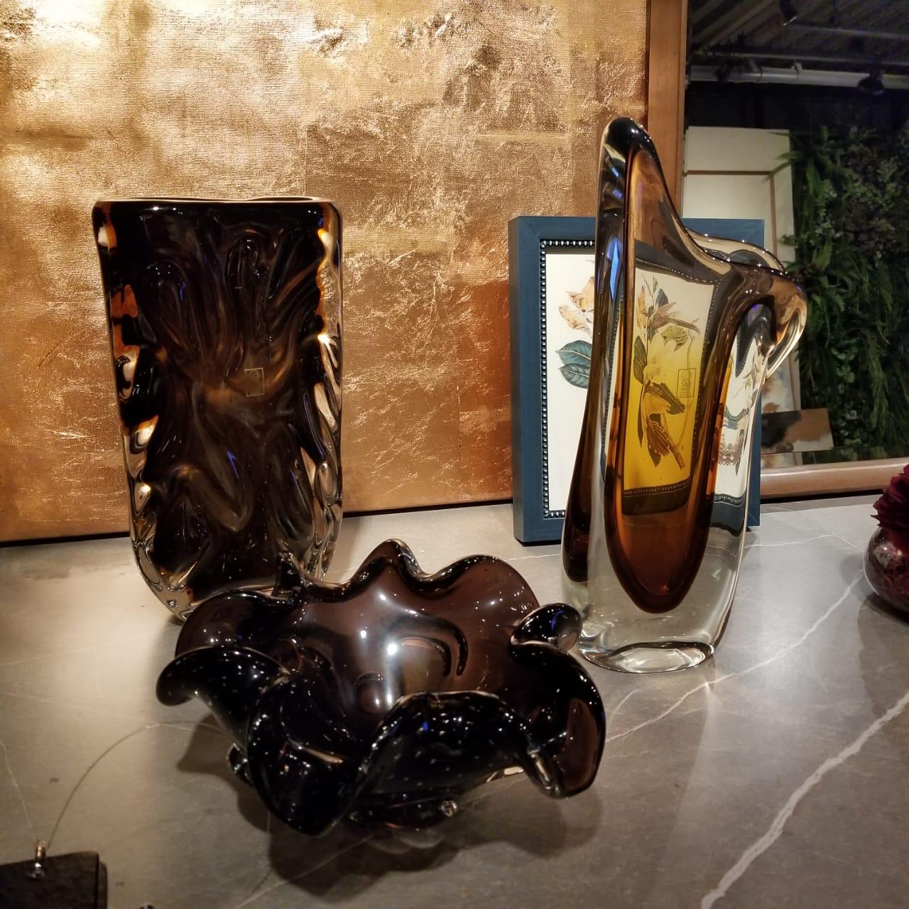 Centro de Mesa de Murano com Aspente São Marcos - Cristal Marrom 22cm
