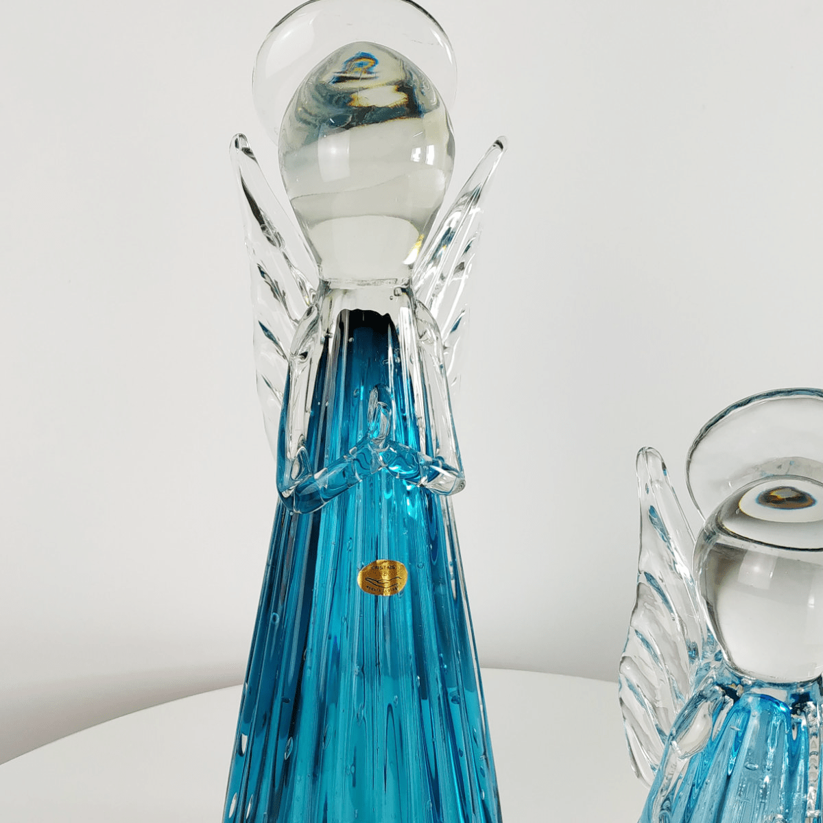 Kit Anjos de Murano D'Labone - Cristal Aquamarine (2 Peças)