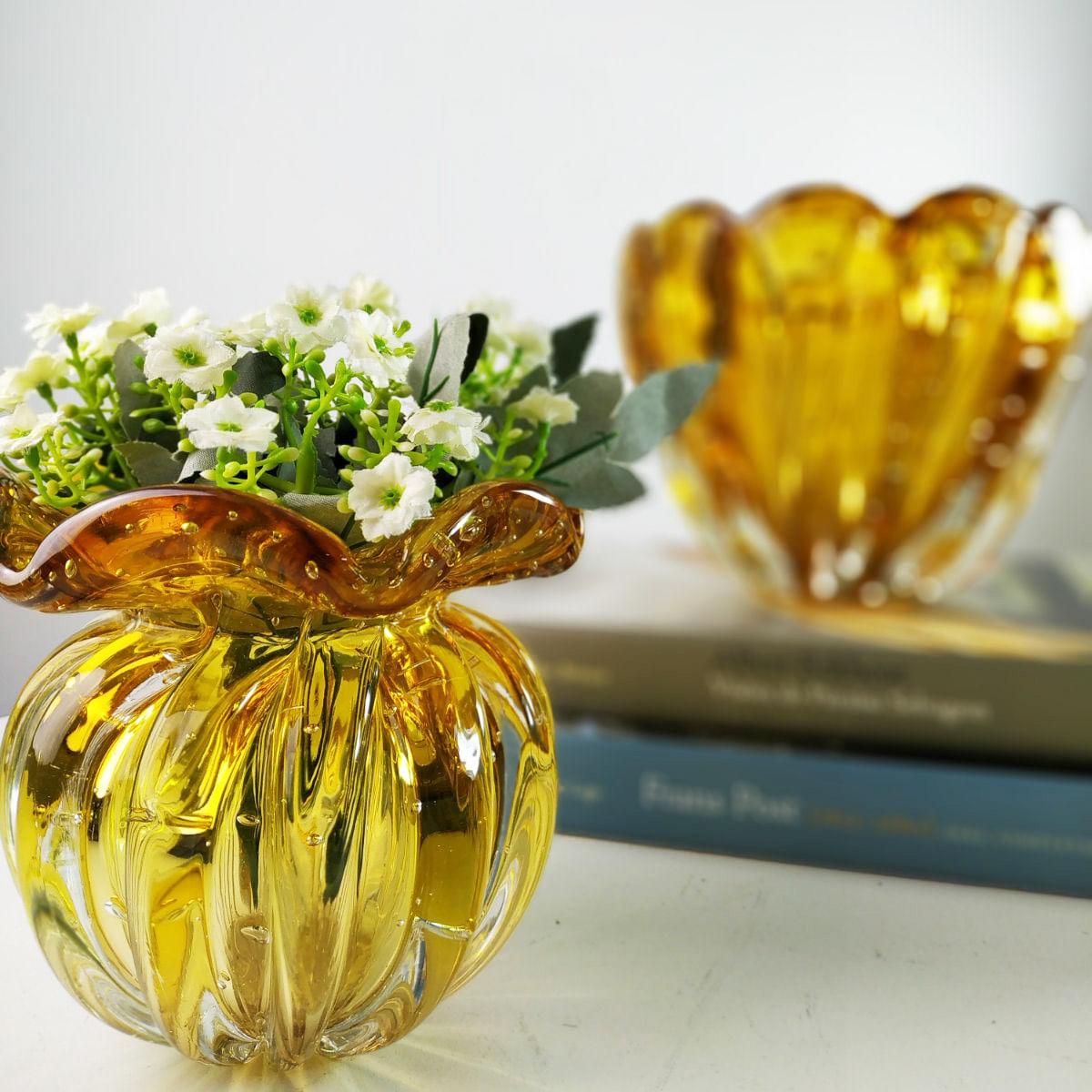 Vaso de Murano Trouxinha D'Labone - Cristal Âmbar Torcello 14cm