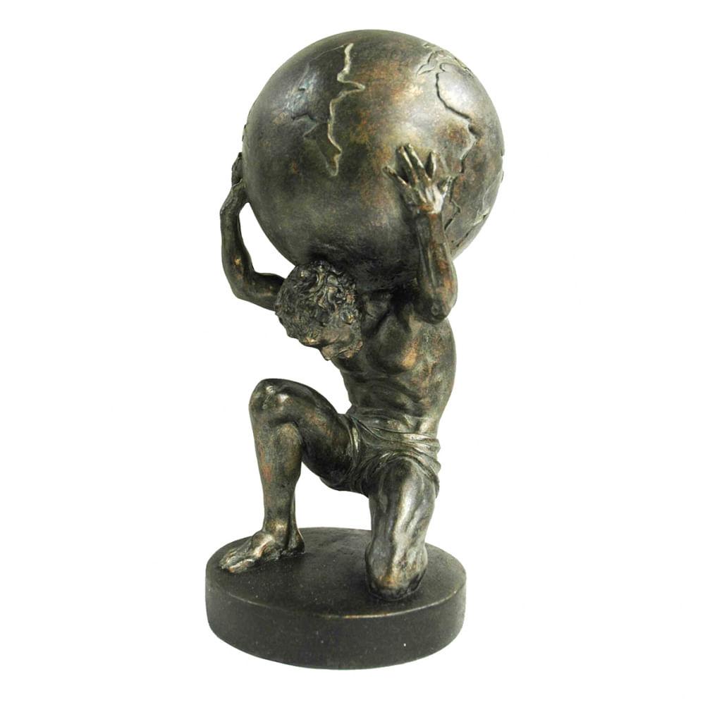 Escultura Decorativa em Resina O Homem e o Mundo - Bronze
